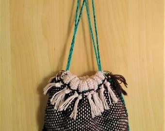 Handbag/cotton bag Brown fabric to the frame