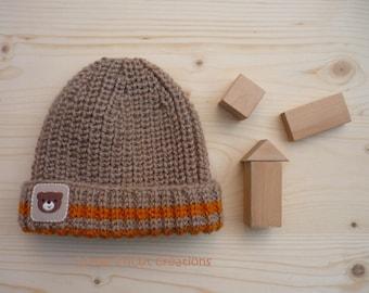 Baby hat (6/12 months) kraft beige and ochre. Handmade wool