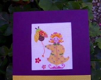 """Hand embroidered card: little """"Pixie flower"""" and her Ladybug"""