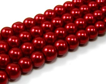 Glass Pearl 8 mm carmine red color set of 10 beads