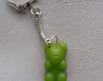 "Key fob candy bear resin green ""Les treats"""