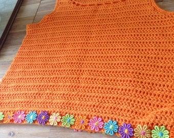 Hand crocheted vest top