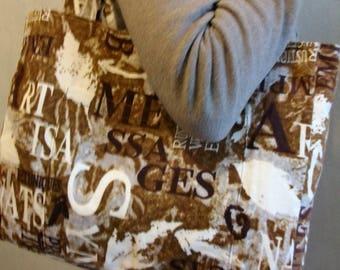 Graffiti on Brown & Cream velvet bag