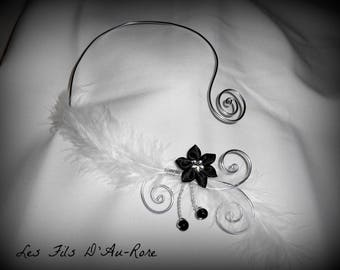 NEPTUNE necklace with silver aluminum wire and black satin flower