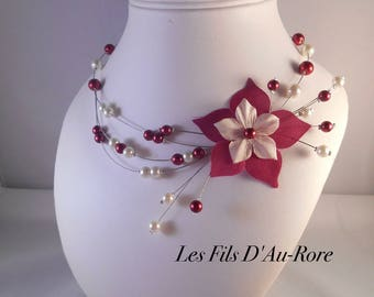 Wedding ivory & Burgundy CHARLOTTE necklace