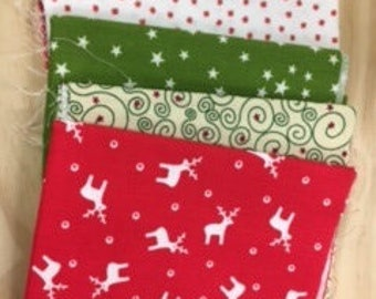 lot de 5 coupons de tissus motifs de Noel