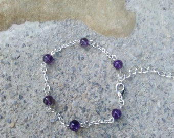 """Silver amethyst and chain bracelet, hippie chic, Crystal healing, """"Energy"""""""