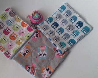 """set of 3 large wipes """"the world of the OWL"""" cotton and Terry velour"""