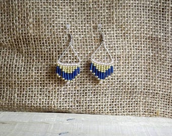 Pair of earrings form triangle, blue, pink and gold bead