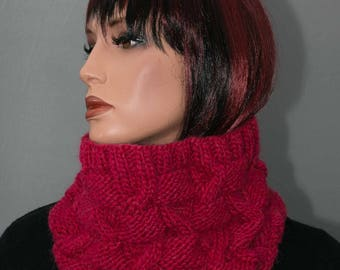 Pure wool, pink raspberry Snood, women
