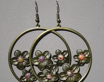 polymer clay and bronze hoop earrings