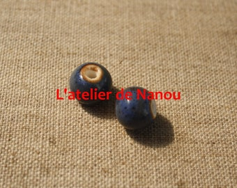 ceramic bead handmade ultramarine blue 6 mm