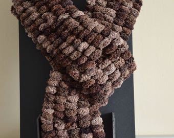 """Pompom"" gradient Brown scarf"