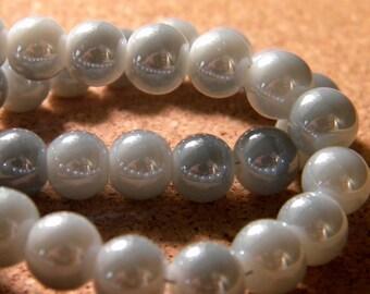 10 pearls 8 mm brass plated - imitation jade 2 gray PE200-9