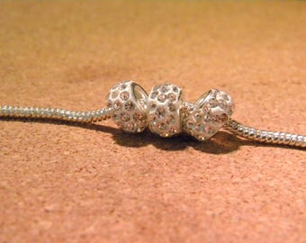 3 pearls charm European resin & rhinestone - style 12 mm pandor@-- D10