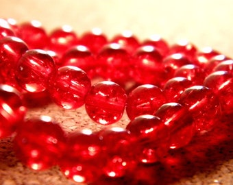 glass Crackle 8 mm - red - PE140 50 beads