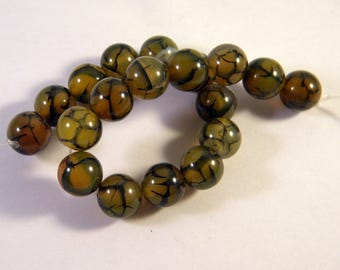 5 agate beads 10 mm AG20 olive green dragon vein