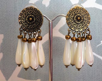 Bronze and Pearl clip earring