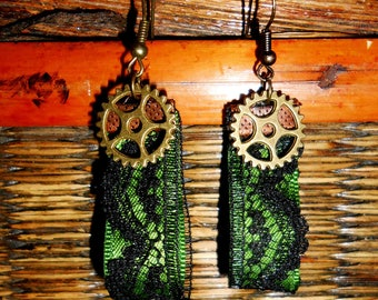 """Bronze earrings """"lace and COG"""""""