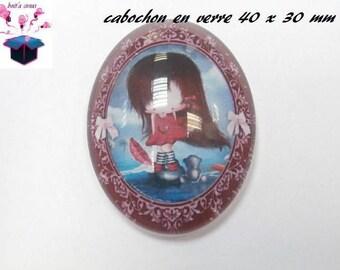 1 cabochon glass 40x30mm child theme