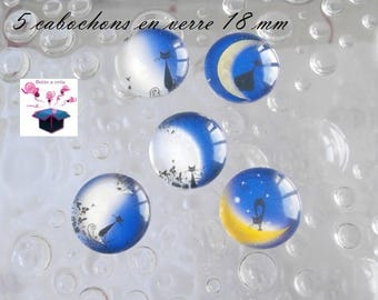 5 series cat with Moon 18mm domed glass cabochons