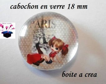 1 cabochon clear domed 18mm Paris series