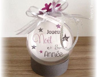 Noël Boule plexi 8cm with customizable text and photo