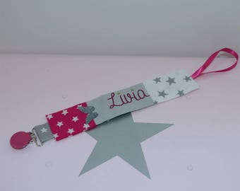 Personalized pacifier gray, white and Fuchsia tie