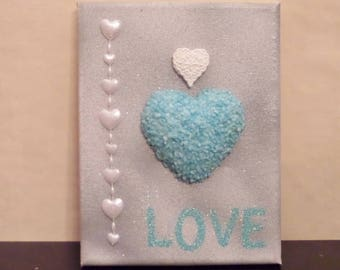Frame painting on canvas frame turquoise heart