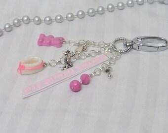 "Jewelry bag, birth, little slipper pattern handmade Ribbon ""it's a girl"" keychain"