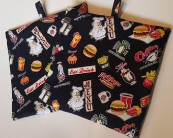 Diner Jumbo Hot Pads, Pot Holders, Hot Pads, Farbic Hot Pad, Fabric Pot Holder, Kitchen Hot Pad, Kitchen Pot Holder