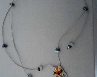 macrame OWL pendant necklace