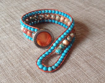 Jade, orange and turquoise button, leather wrap bracelet metal and orange