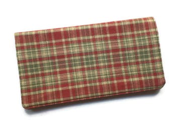 "Checkbook Cover 6.5""x3.5"", Coupons Wallet, Cash Holder in Red and Green Plaid Fabric, For Him or Her"