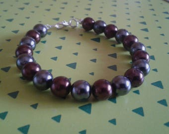 Unisex bracelet with pearls round shiny smooth bronze and anthracite
