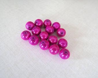 Set of 15 magic dark pink acrylic miracle beads