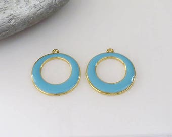 Set of 2 Gold round pendant enameled in blue