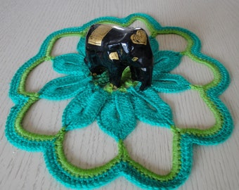 DOILY MITIGATES GREEN CREATED WITH WOOL SIZE 24 CM - NEW
