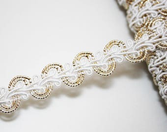 White and gold 14 mm braid, braid trimmings, 1 m Gold Ribbon