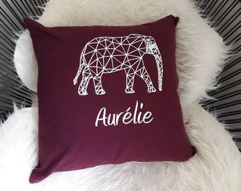 Custom graphic elephant pillow cover