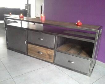Cabinet tv vintage industrial wood and steel
