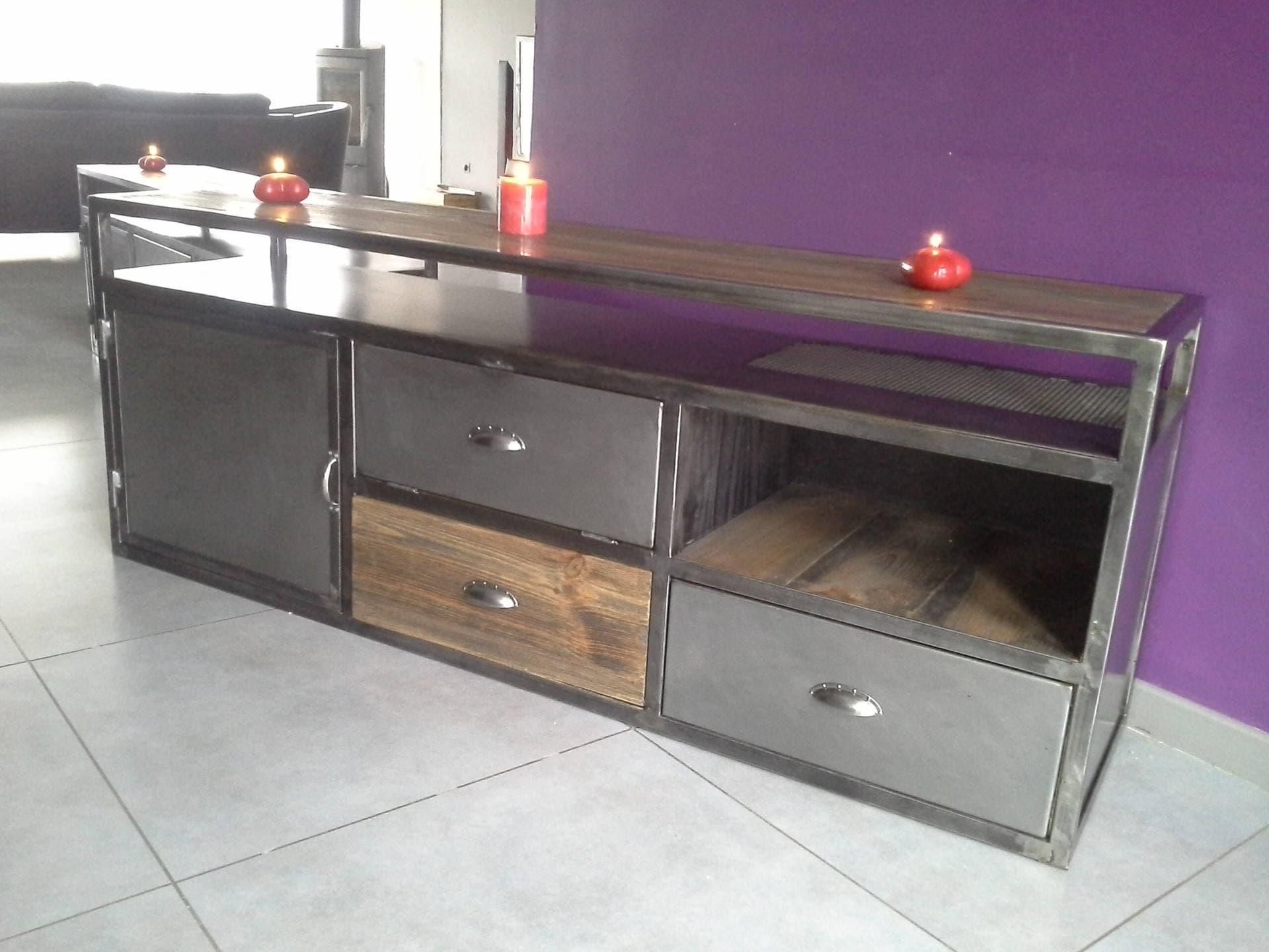 meuble industriel tv vintage acier et bois. Black Bedroom Furniture Sets. Home Design Ideas