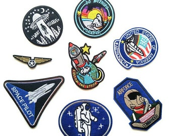 Space Patches For Jacket,Jeans, for back pack,Embroidery Patches,Patches For Clothes, Backpack,8 pcs/lot,Austronaut Patches For Kid
