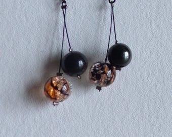 Earrings Crystal, black, orange on chain