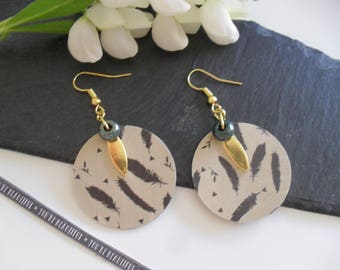 Earrings with Golden charms and beads