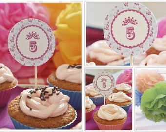 Sample toppers for cupcake decoration - birthday