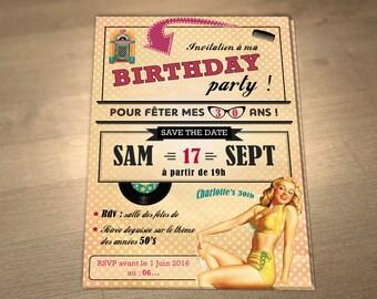 Personalized printable birthday invitation theme: Retro 50's!