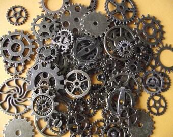 Set of 50 watch gears, steampunk, bronze color.