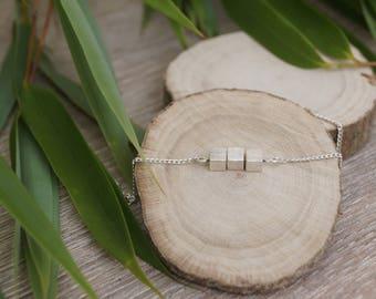 Bracelet silver color cube beads