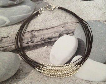 Necklace multi strand multi chocolate pearls